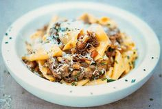 Jamie Oliver's Pappardelle With Amazing Slow-cooked Meat With Meat, Extra-virgin Olive Oil, Fresh Rosemary, Purple Onion, Garlic Cloves, Carrots, Celery Sticks, Chianti, Plum Tomatoes, Pearl Barley, Ground Black Pepper, Salt, Dried Pappardelle, Unsalted Butter, Grated Parmesan Cheese