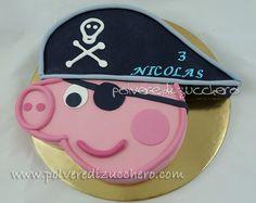 Pirate George for Jax! George Pig Cake, George Pig Party, Cake Peppa Pig, Pig Cakes, Pig Birthday Cakes, 3rd Birthday, Birthday Ideas, Pirate Birthday, Pirate Party