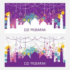 Beautiful greeting card for muslim community festival Eid Mubarak. Pattern with ornament Arabic calligraphy and mosque with splashes in watercolor style. Vintage hand drawn vector illustration