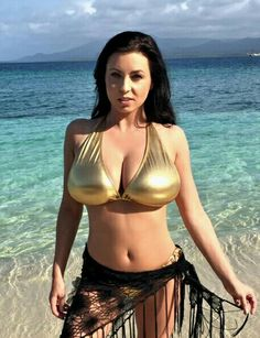 Ewa Sonnet - gold bikini - seaside