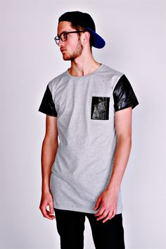 Tall Tees Cø Longline T-Shirt With Leather Effect