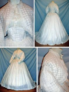 Two-pieced dress ca. 1860s. White cotton with windowpane pattern. Zouave-styled jacket with center back peplum is trimmed with white eyelet and top of sleeves have epaulettes. Piped shoulders and armscyes; unlined; hook & loop closure at neckline. Skirt has wide Medici-style attached belt that is adored with eyelet trim and is boned. It has back sweep and is unlined. Blouse shown with outfit is not original. fiddybee/ebay