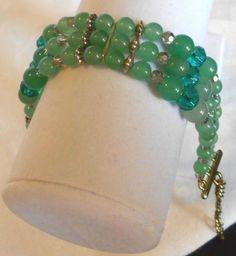 gorgeous multi-strand aventurine and crystal bracelet adjustable #Handmade #Beaded