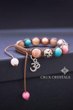 Om, Women's Shamballa Bracelet, Swarovski Elements, Natural Stone, Mother's Gift, Sun Stone Bracelet, Wrap Bracelet, Charm Bracelet, Namaste