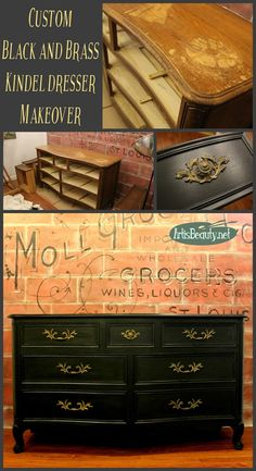 ART IS BEAUTY: Graphite Black and Brass Custom Painted Kindel Dresser Makeover