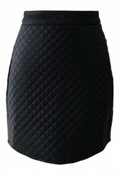 Black Faux Leather Diamond Bud Skirt