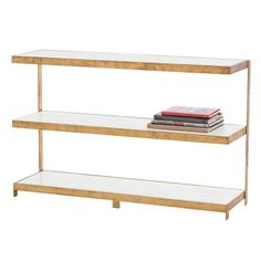"""<p>See last image for the dimensions.</p><p><strong>Dimensions:</strong></p><p>Clearance: 1.5""""<br />Shelf H (thickness): 1.75""""<br />Shelf W: 47""""<br />Shelf D: 30""""<br />Top Shelf Clearance: 12""""<br />Bottom Shelf Clearance: 12""""</p><p></p><p>Primary Material: Iron<br />Finish: Gold Leaf</p>"""