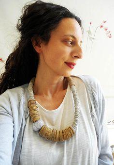 Bib necklace , women's jewelry,morden,handmade,minimal,statement leather,gifts ideas by konstcreations on Etsy