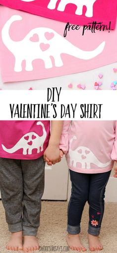 Free Valentine's Day Dinosaur SVG / Applique Need a fast Valentine's Day DIY shirt idea? Use this free dinosaur applique pattern and you'll My Funny Valentine, Dinosaur Valentines, Valentines Day Shirts, Valentines For Kids, Valentines Baking, Saint Valentine, Valentine Ideas, Valentine Decorations, Valentine Crafts