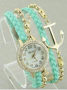 Conjunto de #pulsera y #reloj en forma de ancla ideal para lucirlo en una #boda o #comunión.