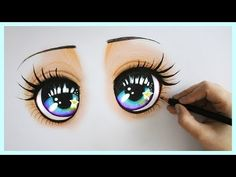 Drawing Tutorial ❤ How to draw and color Sparkly Blue Eyes ! - YouTube