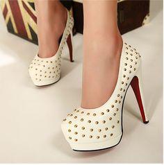 High heel pumps fashion stud decorative shoes white