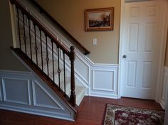 10 Attractive Tips: Stained Wainscoting Wood wainscoting around windows sinks.Modern Wainscoting Home dark wainscoting counter tops. Wainscoting Nursery, Wainscoting Kitchen, Painted Wainscoting, Dining Room Wainscoting, Wainscoting Panels, Wainscoting Ideas, Stair Box Ideas, Stairs Trim, Stair Well
