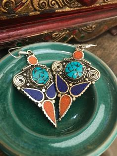 Excited to share the latest addition to my #etsy shop: Tribal earrings  - ethnic earrings - Tibetan earrings -  turquoise and coral - gypsy earrings - raw stone jewelry - artisan earrings #jewelry #earrings #tribaljewelry #blue #gypsyearrings #artisanearrings #rawstonejewelry #ethnicearrings
