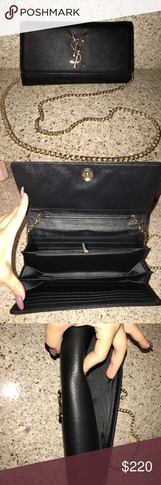 Chain strapped clutch wallet Brand new item clutch ❌❌NOT AUTH! ❌❌ price reflects authenticity. Faux leather material. I don't accept trades!‼️‼️‼️ no damages. It has several card slots inside perfect for a night out. Yves Saint Laurent Bags Clutches & Wristlets