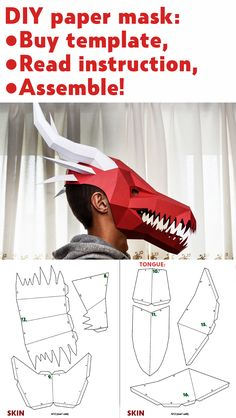 Papercraft mask Dragon, DIY paper craft PDF template, make your own low poly dinosaur, printable dow Cardboard Mask, Cardboard Crafts, Paper Mache Crafts For Kids, 3d Paper Crafts, 3d Templates, Paper Craft Templates, Dinosaur Printables, Dragon Mask, Dragon Crafts