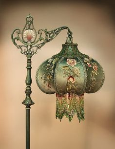 "justasimplelife07: "" Victorian lamp with beaded fringe lamp shade """