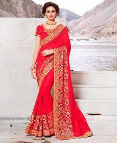 Buy Taking Red Silk Sarees online at  https://www.a1designerwear.com/taking-red-silk-sarees  Price: $83.75 USD