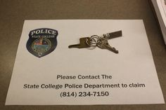 Found Keys. Please contact SCPD at 814-234-7150.