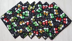 Christmas Cloth Napkins Mittens on Black Lunch Dinner 12 Inch Set of 6