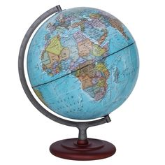 The Mariner globe by Waypoint Geographic features an up-to-date 12-inch Blue Ocean globe with Silver finished metal and numbered meridian. The round two tier wood base compliments the globe which can be used for reference and decor for the home or office.