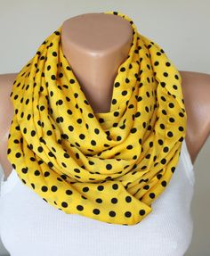 infinity scarf / yellow polka dot scarf infinity by fashioncesa, $9.90