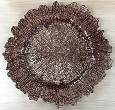 PREORDER Rose Gold Flower Burst Glass Charger Plate - 6 pack