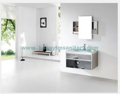 D-8413  Modern Blue glass wash basin stainless steel bathroom vanity with sliding mirror cabinet