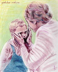 "Helen Keller And A Boy  colored pencil 8""x10""    2011 by yoshiko mishina"