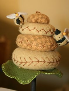 hatched and patched pincushion