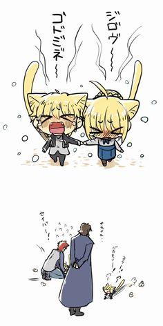 Father looks soo cute. Fate Zero, One Punch Man Heroes, Gilgamesh Fate, Arturia Pendragon, Fate Stay Night Anime, Fate Anime Series, Samurai Art, Short Comics, Cool Animations