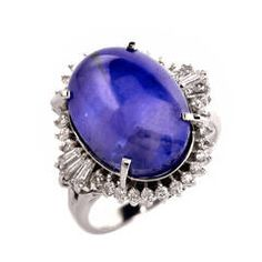 Sapphire Diamond Platinum Cocktail Ring | From a unique collection of vintage cocktail rings at https://www.1stdibs.com/jewelry/rings/cocktail-rings/