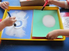 Sensory play - writing in salt