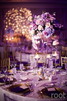 Erin and Toms Rapunzel inspired wedding reception. Violet flowers twinkle lights and gold chiavari chairs. - Gold Lights - Ideas of Gold Lights Purple And Gold Wedding Themes, Light Purple Wedding, Purple Wedding Decorations, Quince Decorations, Lilac Wedding, Dream Wedding, Wedding Flowers, Lavender Weddings, Disney Wedding Centerpieces