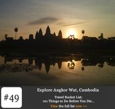 Bucket List #49: Explore Angkor Wat, Cambodia. On the outskirts of Siem Reap in north-western Cambodia lies Angkor, the capital of an ancient and powerful Khmer Empire. Lost to civilisation for hundreds of years, it has now been restored to glory as one the world's greatest historical and architectural wonders. Angkor is in every sense an incredible place with an incredible story
