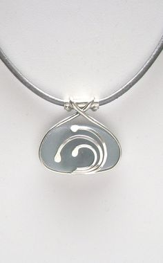 Sea Glass Jewelry Sterling Caged Large Blue Gray by SignetureLine