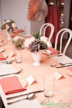 shower inspiration, pink napkins, peach linens, succulents, peonies, lunch shower color combo love