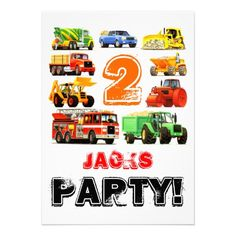 Big Trucks 2nd Birthday Party Personalized Invitations