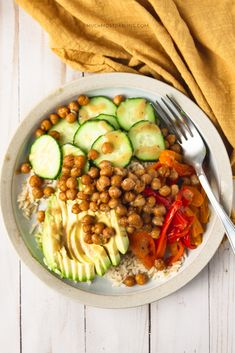 Vegan + Gluten Free Chickpea + Rice Protein Power BowlAn easy summer related 30 minute recipe, that is vegan, gluten free, soy free, and nut free. Perfect for meal prepping, lunch, and dinner all year! Vegan protein powerbowl featuring chickpeas, avocado, roasted peppers, brown rice, cucumber and topped with a delicious homemade sweet mustard vinaigrette recipe. Gluten Free Dinner, Vegan Gluten Free, Protein Power, Vegan Protein, Mustard Vinaigrette Recipe, Sunday Meal Prep, How To Make Breakfast, 30 Minute Meals