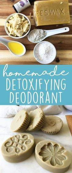 DIY Bentonite Clay Deodorant Bars - make your own deodorant with all-natural, non-toxic ingredients. This recipe is coconut oil-free and baking soda-free. (Homemade Bentonite Clay Deodorant)