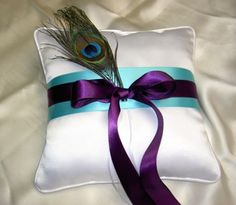 Royal Purple and turqoise Peacock Feathers | ... Turquoise and Purple Ring Pillow Peacock Feather | Perfect Peacock