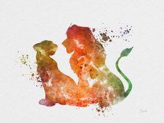 "Simba and Nala, The Lion King ART PRINT 10 x 8"" illustration, Disney, Mixed Media, Home Decor, Nursery, Kid on Etsy, $12.99"