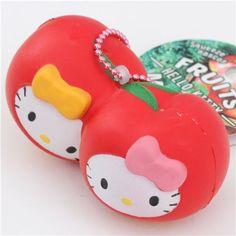 red Hello Kitty apple squishy charm 1