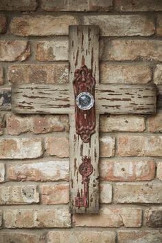 Wooden Cross w/ Antique Door Knob-White