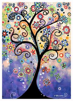 Whimsical Colorful Tree Flower Garden Landscape Folk Giclee Fine Art Posters and Prints of my Original Acrylic Painting