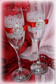 Купить Свадебные бокалы - ярко-красный, красный бокалы, свадебные бокалы красный, бокалы кристаллы