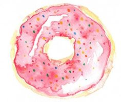 Michaella's Kitchen Watercolor Illustrations - Donut