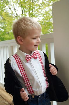 Adorable red gingham check suspender and bow tie set for little boys, toddlers, baby. Great christmas card photo outfit for boys.