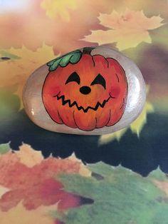 Smiling Halloween Pumpkin Hand Painted Rock