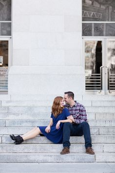 Engagement Portrait Sitting on Stairs | State Capitol Downtown Sacramento Engagement Photography - Chico California Wedding Photography and Videography by Chico Photographer Videographer Couple TréCreative